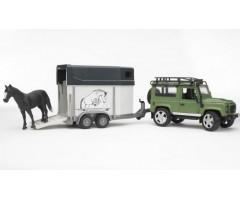 Land Rover Defender прицеп и лошадь