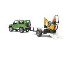 Land Rover с прицепом и экскаватором