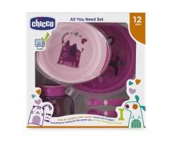 Набор детской посуды розовый