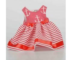 PR0207 Платье красное полосатое с якорями