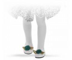 PR63202 Туфли белые с зеленым цветком