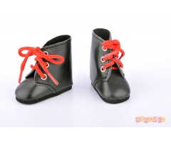 PR63225 Ботинки черные с красными шнурками