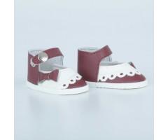 PR64084 Туфли бордовые с белым