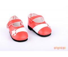 PR64559 Туфли красные с цветочком для кукол 32 см